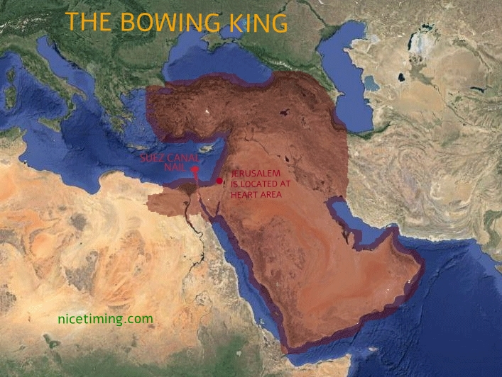 The bowing king, showing Suez Canal nail location